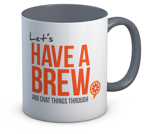 Let's have a brew mug by Wild Orange Media