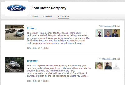 Ford Motor Company Products Page