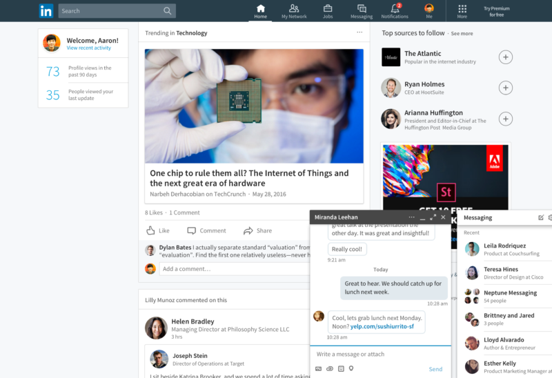 LinkedIn Desktop with Messaging Overlay